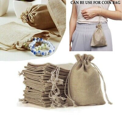 Khaki Small Burlap Jute Hessian Wedding Jewellery Candy Bags Drawstring Pouches