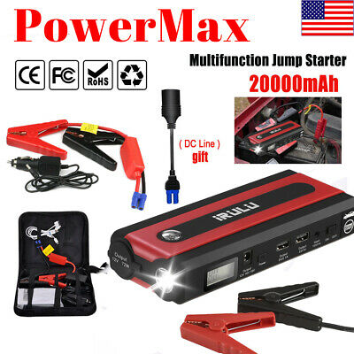 iRULU Car Jump Starter Charger w/ 600A Peak 20000mAh Emergency 2 USB Power Bank
