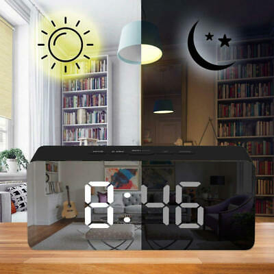 LED Digital Snooze Alarm Clock FM Temperature Display USB/Battery Powered Mirror