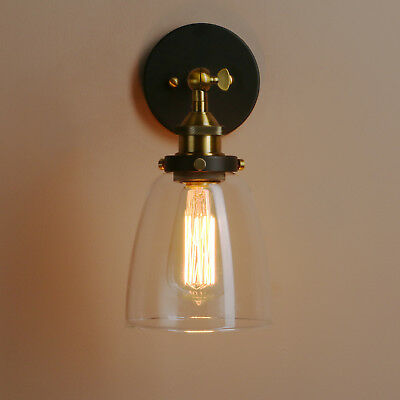 Modern Retro Vintage Industrial Wall Mounted Lights Antique Glass Shade Sconce
