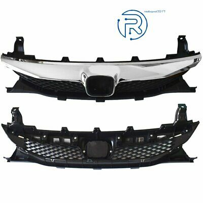 Front Top Grille For 2009-2011 Honda Civic Sedan Factory Style Black Chrome