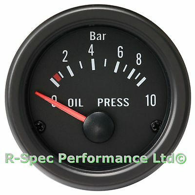 52mm Black Face / Clear Lens Oil Pressure Gauge Kit With 1/8 NPT Sensor - Bar