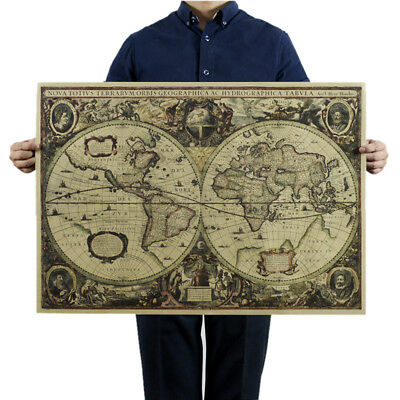 Retro World Map Nautical Ocean Map Vintage Kraft Paper Poster Wall Decor  O