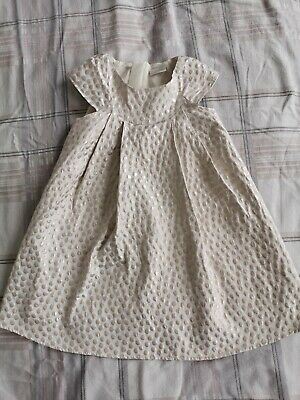 Next Signature Girl Party Summer Dress Crem&gold Size 4-5 Years