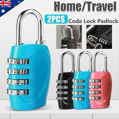 2x 4-Digit Combination Padlock Security Travel Suitcase Luggage Bag Code Lock