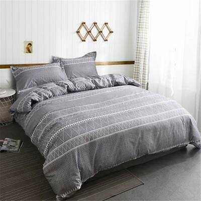 Striped Gray Duvet Doona Quilt Cover Set Queen King Size Bed Linen Pillow Case