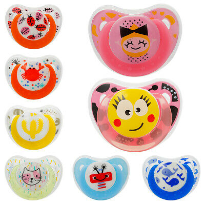 Baby Pacifier Silicone With Lid Butterfly Round Printing Infant Appease Nipple
