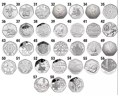 50p GREAT BRITISH COIN HUNT Job Lot 10 x 50p Rare Fifty Pence Coins In Wallets