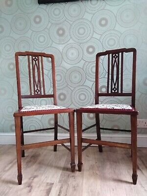 Delightful  Pair Of Antique Edwardian Solid Mahogany Inlaid  Hall/Bedroom Chairs
