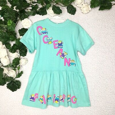 Vintage 1989 Ocean Pacific Spellout Kids Tunic Top Mini Dress Girls size Large