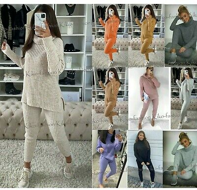 Womens Ladies Chunky Knitted High Roll Neck Top Bottom Lounge Wear Tracksuit Set