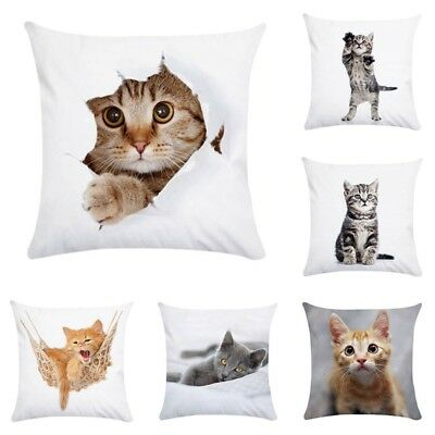 Animal Cat Pillow Case Pet Cushion Cover for Home Pillowcase Decorations Wvt
