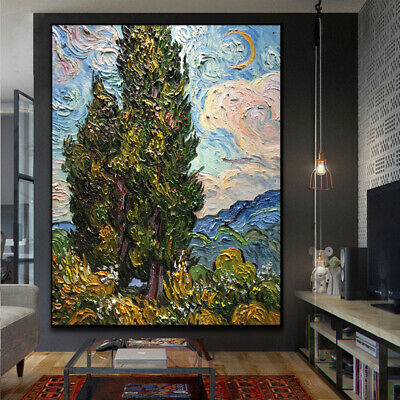 """HH467 Van gogh cypress oil painting Hand-painted Reproduction Unframed 36"""""""