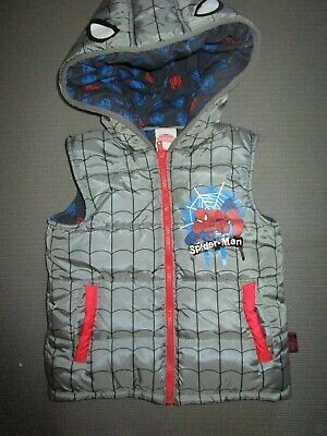Boys Spiderman thick, padded warm vest with hood Size 7