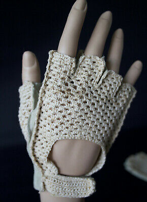Vintage unisex driving cycling fingerless gloves suede cotton size 52 (L)