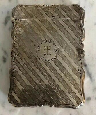 Antique Sterling Silver 65g Calling Card Case Holder Nathaniel Mills Monogram M