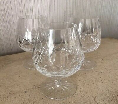 """Set Of 3 Waterford Crystal Lismore Pattern Brandy Liquor Snifter Glasses 5.25"""""""