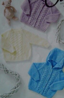 Vat Free Hand Knitting Pattern 4ply Premature Baby Doll Cardigan Set