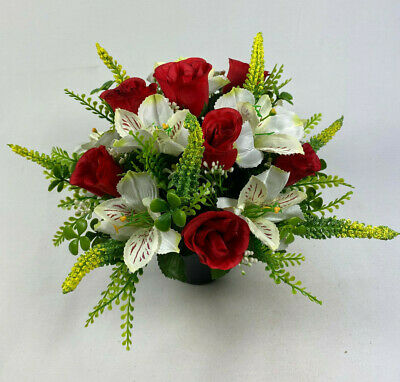 RED/WHITE ROUND Artificial/Silk flowers Grave Arrangement in memorial Crem pot