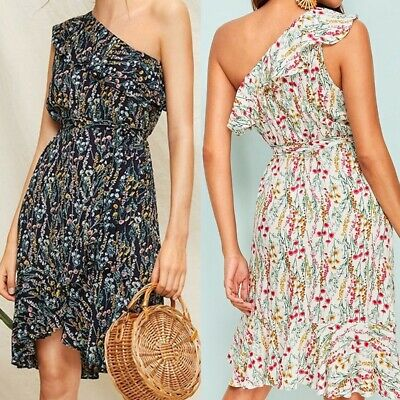 Women One Shoulder Belt Short Sleeve Sexy Printed Knee Length Beach Summer Dress