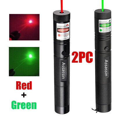 2x 60 Miles Beam Green + Red Laser Pointer Pen Rechargeable 18650 Portable Lazer