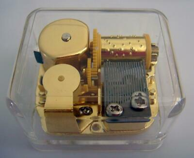 Music Box Acrylic Gold wind up Gurdy Movement Gift Sing A Song Of Sixpence