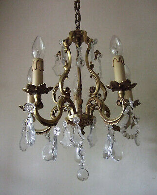 Classic Antique  French Gilt Bronze With Crystal Drops 5 Branch Chandelier