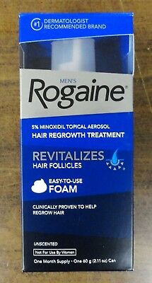 NEW Mens Rogaine Foam Unscented, one month supply,  Free Shipping NEW
