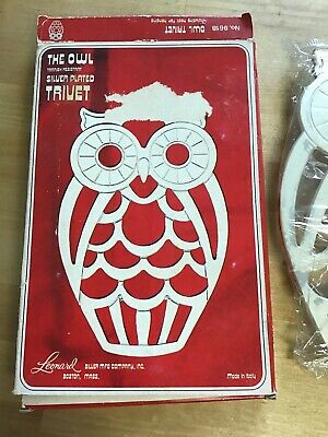 """LEONARD Silverplate OWL Silver Footed Figural Trivet 10"""" Decor Collectible"""