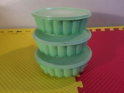 Set Of 3 Vintage Tupperware Jel-Ring Jello Molds Mint/Lime Green Mint Condition