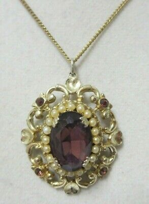 Vintage Gold Tone Purple Rhinestone and Faux Pearl Necklace