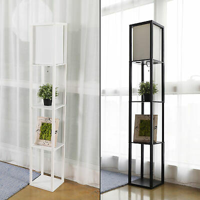 Modern Shelf Floor Lamp Lighting Home Living Room Bedroom w/ Storage Shelves