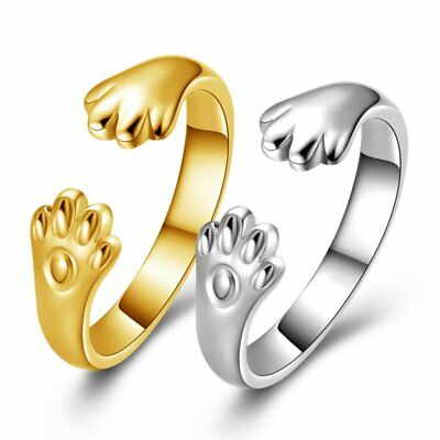 Fashion Cat Paw Gold Silver Charm Finger Knuckle Rings Adjustable Jewelry Gift