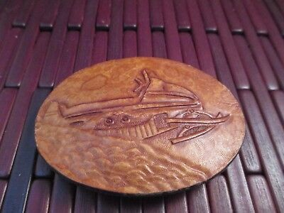 Snowmobile Belt Buckle Leather Vintage Hand tooled