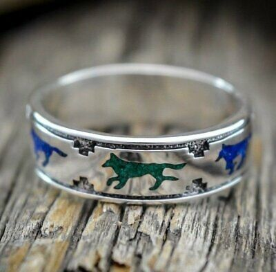 Sterling silver running wolves ring with malachite and lapis lazuli chip