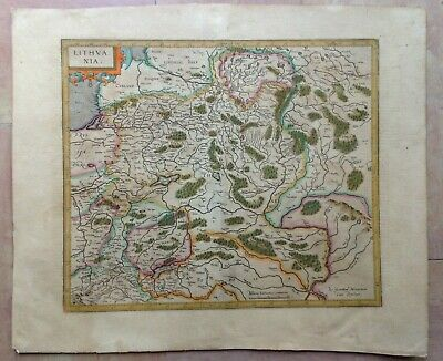 Lithuania 1619 Gerard Mercator/Jodocus Hondius Large Antique Engraved Map