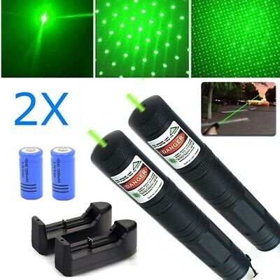 2PC 2 in 1 Star Portable Green Laser Pointer Pen Visible Beam Rechargeable Lazer