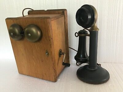 Vintage Western Electric Candlestick Telephone Receiver & Oak Ringer Box