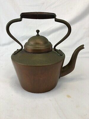 Vintage Copper & Brass Tea Kettle Pot with Wooden Handle With Lid Bongusto Italy