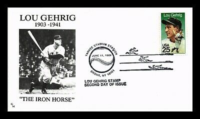 Dr Jim Stamps Us Lou Gehrig Iron Horse Second Day Baseball Cover
