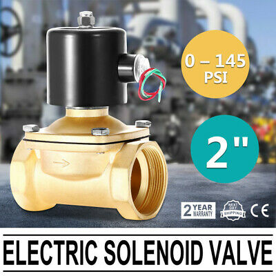 "2"" AC BSP Brass Electric Solenoid Valve 220V No Polarity Durable 100% Duty Cycle"