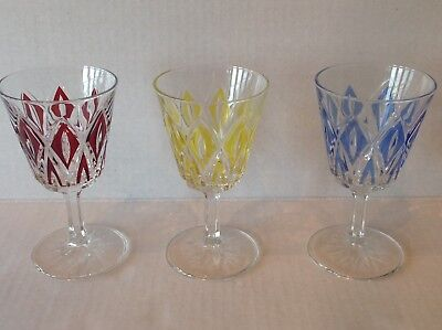 Vintage Stemware Cordial Glass Diamond coloured EACH SOLD SEPARATELY