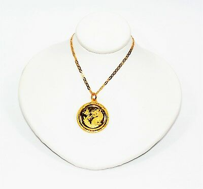 Pure 24kt Oriental Dragon Coin 14kt Yellow Gold Pendant Necklace