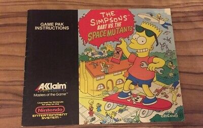 Bart Vs. The Space Mutants NES Nintendo Manual Instructions Booklet