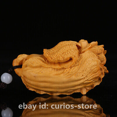 "2.8""China Exquisite Box-wood Hand-carved Cabbage Wealth BaiCai Statue Pendant 百财"