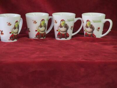 Lot of 4 Shrek Christmas Coffee Mugs Set of 4 Donkey Dreamworks 3T