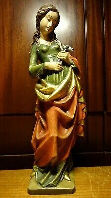 """✟ Vintage 15"""" Wooden Hand Carved Patron Saint St Apollonia Of Dentists Statue ✟"""
