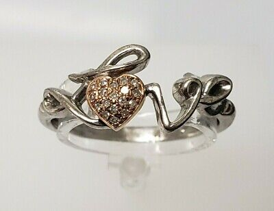 "Estate Sterling Silver .925 ""LOVE"" Ring RP Rose Heart CZ Sz:6.75 Promise Ring"