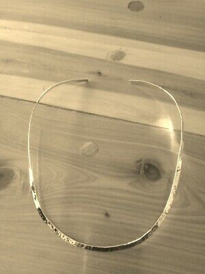 """4mm  18"""" Sterling Silver Jewelry Oval Shape Hammered Choker/Collar/Necklace N/C"""