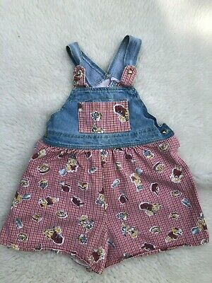 Vintage SWAT Kids Girls Sz 6x Red Checked Bears Overall  Shorts USA Made